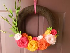 Summer Wreath - 16 Inch Yarn Wrapped Wreath - Bright Felt Flower Wreath with Green Leafy Sprig and Pink, Orange and Gold Rosettes