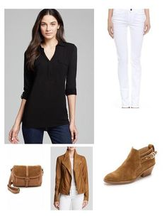 Saddle leather is the perfect investment piece for the spring.  So chic styled with a white jean, black top and tan accessories . www.keatonrow.com/marjoriegelfand