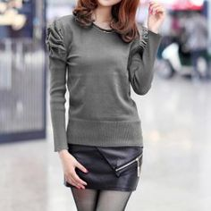 $7.86 Solid Color Puff Sleeves Acrylic Casual Style Sweater For Women