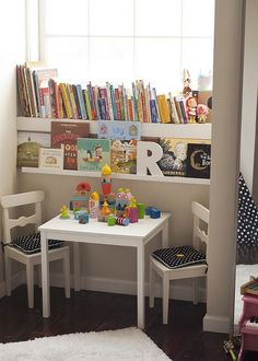 reading corner for kids. Could do this in front of playroom window.
