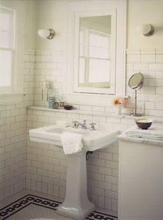 Bathroom by Kevin Oreck with pedestal sink, white subway tile wall and a porcelain mosaic tile floor with black chain link border Bathroom Tile Designs, Bathroom Renos, Bathroom Flooring, Small Bathroom, Vanity Bathroom, Bathroom Cabinets, Bathroom Pink, Bathroom Ideas, Bungalow Bathroom