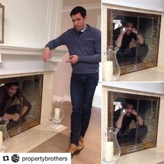 Who would you rather have come down the chimney,  or Jonathan?  Drew Scott pointing out that his  twin brother Jonathan Silver Scott is in the fireplace.  Lol.  Toronto Canada  2016