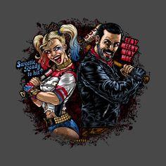 Negan and Harley! Best fan art ever! Comic Book Characters, Comic Character, Character Drawing, Minions Cartoon, Ford Classic Cars, Best Fan, Joker And Harley Quinn, Cosplay, Margot Robbie