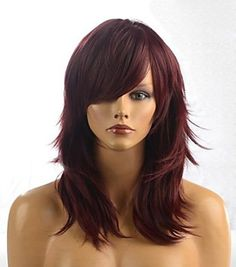 Layered Long Chestnut Brown Straight Tilt Women's Synthetic Wig With Face Side Bang