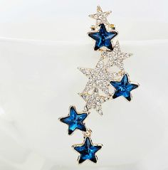 2017 Punk Eardrop Full Crystal Conjoined Star Ear stud Earrings pendientes hombre boucle d oreille earing women boucles d'oreill