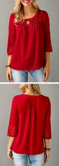 Three Quarter Sleeve Laser Cut Out Red Blouse - https://sorihe.com/blusademujer/2018/02/15/three-quarter-sleeve-laser-cut-out-red-blouse/ #women'sblouse #blouse #ladiestops #womensshirts #topsforwomen #shirtsforwomen #ladiesblouse #blackblouse #women'sshirts #womenshirt #whiteblouse #blackshirtwomens #longtopsforwomen #long tops #women'sshirtsandblouses #cutetopsforwomen #shirtsandblouses #dressytops #tunictopsfor women #silkblouse #womentopsonline #blacktopsforwomen #blousetops…