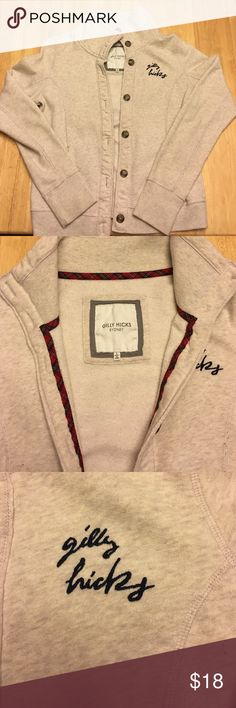 🍁FALL SALE Gilly Hicks Button Up Fleece Sweater Love this super soft sweater from Gilly Hicks! Cute plaid lining, brown buttons all the way down, Gilly hicks logo on chest. Make an offer! Gilly Hicks Tops Sweatshirts & Hoodies