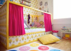 pinned this more for the design idea - and thoughts of using wall paper/paint to decorate bunk beds