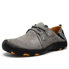 Hiking Leather Slip Resistant Sport Running Sneakers For Men - Gchoic.com