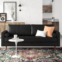 Leather Sofa - Confused About Furniture? Top Tips On Furniture Buying And Care. Black Sofa Living Room Decor, Living Room Modern, Living Room Sofa, Living Room Furniture, Black Leather Sofa Living Room, Modern Furniture, Black Sofa Decor, Small Living, Genuine Leather Sofa