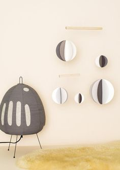 Frazier and Wing handmade paper mobile in black and white  - perfect for a baby's room