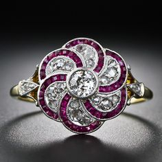 Antique diamond and ruby ring, Edwardian era. At Lang Antiques. How awesome is this one?