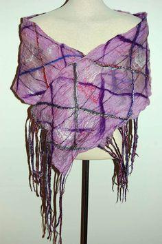 Silk Scarf Silk Shawl Silk Wrap Purple by LocallySewnTextiles