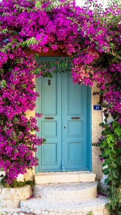 Front Door Paint Colors - Want a quick makeover? Paint your front door a different color. Here a pretty front door color ideas to improve your home's curb appeal and add more style! Cool Doors, Unique Doors, Bougainvillea, Garden Gates, Windows And Doors, Curb Appeal, Beautiful Places, Scenery, Backyard