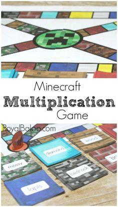 Minecraft Multiplication Game - Free printable multiplication game for practicing multiplication facts. Minecraft Multiplication Game - Free printable multiplication game for practicing multiplication facts. Multiplication Activities, Math Activities For Kids, Math For Kids, Math Resources, Maths, Math Fractions, Multiplication Table Printable, Long Multiplication, Printable Math Games