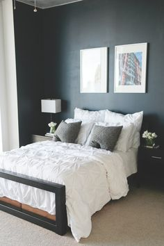 Colby Burlingame's Atlanta Apartment Tour #theeverygirl  #black walls #bedroom