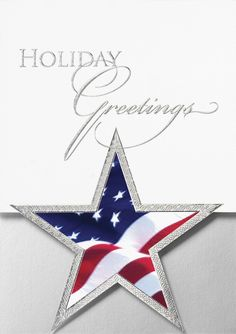Patriotic Star Die Cut - Holiday Greeting Cards- This stylish patriotic card features a die-cut star adorned with the American Flag and trimmed in silver foil.The Office Gal
