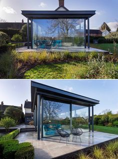 This fully glazed contemporary single storey extension is modern, light, easy to maintain, flexible, and has level access to the garden. British Architecture, Interior Architecture, Open Space Living, Living Spaces, Modern Glass, Modern Contemporary, Stucco Siding, Single Storey Extension, Light Wood Cabinets