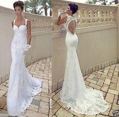 New open back white ivory mermaid lace wedding bridal dress custom made size