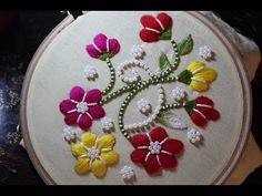 Hand Embroidery Designs | Wallmate design | Stitch and Flower-121 - YouTube