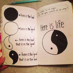 Wreck This Journal Inspiration. Yin-Yang hope you enjoy Journal D'inspiration, Bullet Journal Notebook, Wreck This Journal, Journal Quotes, Bullet Journal Ideas Pages, Bullet Journal Inspiration, Wreak This Journal Pages, Journal Ideas Tumblr, Notebook Art