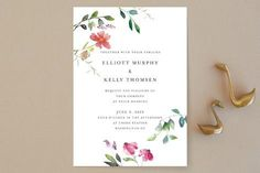 """Spring Wildflowers"" - Wedding Invitations in Pink Floral by Nikkol Christiansen."
