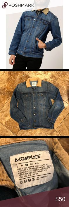 """Akomplice margutta jean jacket size large Vguc size large. Slightly longer than a normal jean jacket. Shoulder to bottom 27"""", armpit to armpit 20""""inches. Corduroy collar akomplice Jackets & Coats"""
