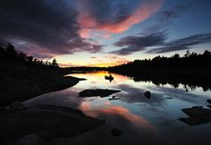 "The French River + a beautiful sunset. This photo was taken near ""The Elbow"", French River Provincial Park, Ontario, Canada. Beautiful Sunset, Canoe, In This World, Ontario, North America, Places To Visit, Fishing Trips, True North, River"