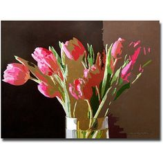 Trademark Art Pink Tulips In Glass Canvas Wall Art by David Lloyd Glover, Size: 18 x 24, Multicolor