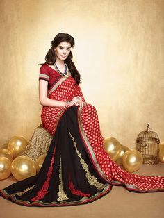 Shop Li Te Ra Red And Black Faux Georgette Embroidery Saree With Unstitched Blouse Piece by Style By India online. Largest collection of Latest Sarees online. ✻ 100% Genuine Products ✻ Easy Returns ✻ Timely Delivery
