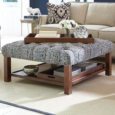 Cocktail Ottoman with Button-Tufting and Storage Trays