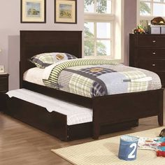 Coaster 400771f 400776 Ashton Full Size Bed With Trundle In Cuccino