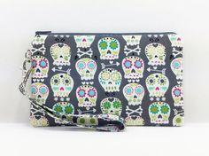 Skulls Cell Phone Wristlet Zipper Wallet Wristlet by ZestyNotion