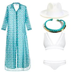 White bikini and long shirt-dress for a day on a yacht #summer #bikini #hat #fashion #style