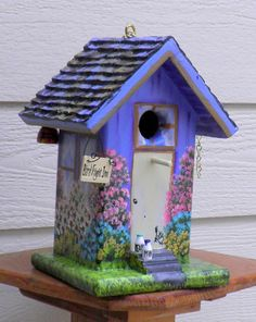 Birdhouse Inn , Lavender And Brown , Outdoor Garden Decoration With The  Birds And Bees In