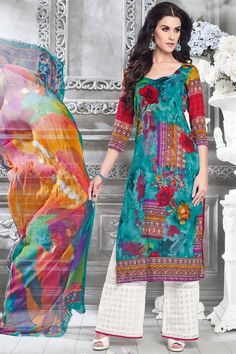 This stylish #salwarkameez is sure to give an eye-catchy look to the wearer. The suit comes along with matching #cotton #palazzo #bottom and chiffon dupatta.