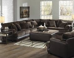 Barkley Sectional Living Room Set Chocolate I Like The Combo Of Leather And Fabric Vanessa Young Luxury Sofas