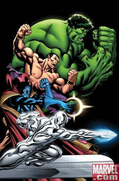 The Defenders: Hulk, Namor, Necromancer and the Silver Surfer