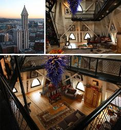 The amazing apartment in the top two floors of the historic Smith Tower in Seattle.