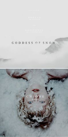 "parloir: """"I belong to the earth and its winter"" ""Mythology meme: nymph/goddess ↳ Chione "" Chione or Khione was the daughter of Boreas, god of the chill north wind and Oreithyia, the lady of. Greek Gods And Goddesses, Greek And Roman Mythology, Greek Goddess Mythology, Goddess Names, Earth Goddess, Mythological Creatures, Mythical Creatures, World Mythology, Religion"