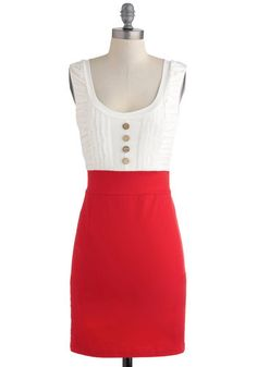 Come in Dandy Dress, #ModCloth - retro, pencil skirt, colorblock, gold buttons