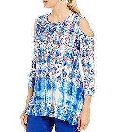 932595011c73bf Ruby Rd. Cold-Shoulder Printed Sharkbite Hem Knit Top Cold Shoulder