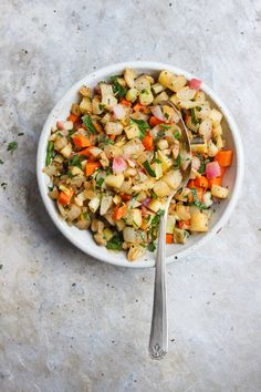 Autumn Vegetable Skillet with Sunchokes + Sage | Root vegetables and sunchokes and seasoned with fresh sage and chopped parsley. Fall flavors, naturally vegan and gluten-free.
