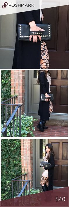 Studded clutch Black with gold studs vegan clutch 12x6 Bags Clutches & Wristlets