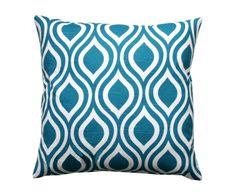 Housse de coussin MIESHA Coton, Turquoise et blanc - 46*46 | Westwing Home & Living