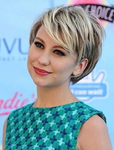 Short hair with highlights on a round face
