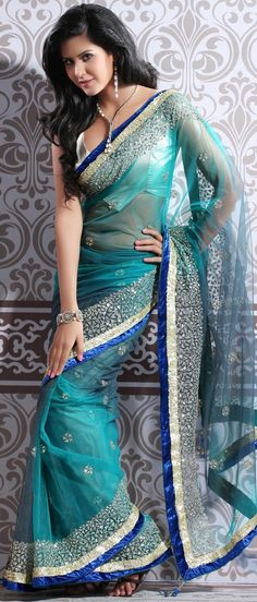 Aqua Blue Soft Net #SareewithBlouse @ $180.00