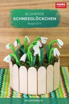 Die zarten Schneeglöckchen aus Moosgummi, Draht und Krepp sind eine hübsche Frühlingsdeko. Die Bastelanleitung finden Sie auf ideenwerk.at #pagroDIY #pagro #schneeglöckchen #frühling Craft Tutorials, Creative Ideas, Nice Asses