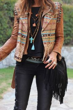 Boho style, tan embroidered leather and fringed bag, www.kensalstudio.com