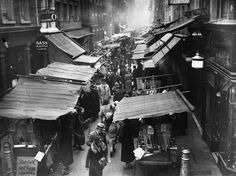 Save Soho old London photos-November The bustling market on Berwick Street in the heart of London's Soho. London Pictures, London Photos, Old Pictures, Old Photos, Vintage Photos, Vintage Photographs, Old London, Vintage London, Blitz London